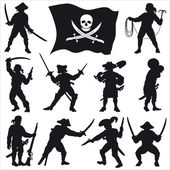 Piraten-Crew-Silhouetten-set 2 — Stockvektor