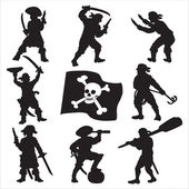 Pirates crew silhouettes SET 1 — Vettoriale Stock
