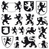 Silhouettes of heraldic lions — Stock Vector