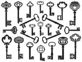 Collection of antique keys — Vector de stock
