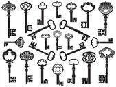 旧式なキーのコレクション — ストックベクタ