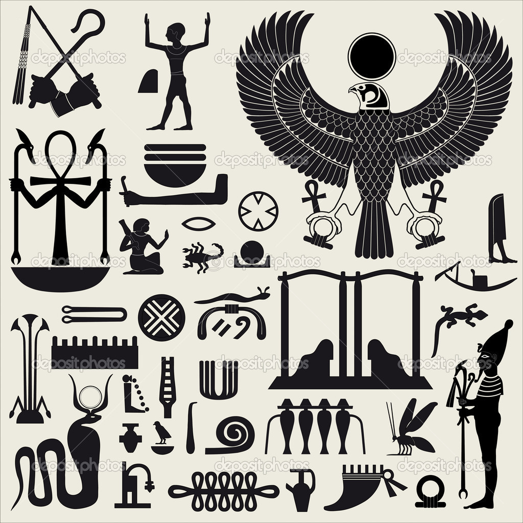 Ancient Egyptian symbols and signs.Collection of different silhouettes.  Stock Vector #5872428