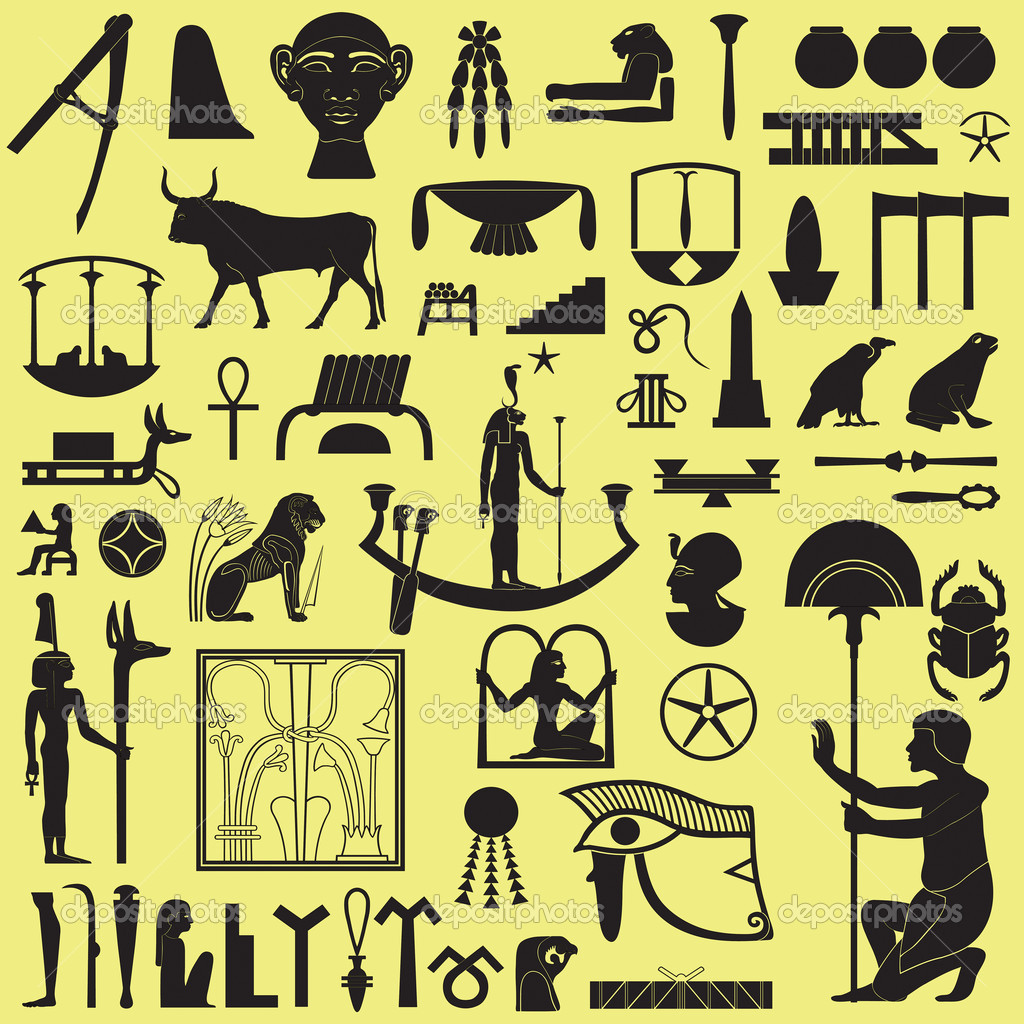 Ancient Egyptian symbols and signs.Collection of different silhouettes. — Stock Vector #5872776