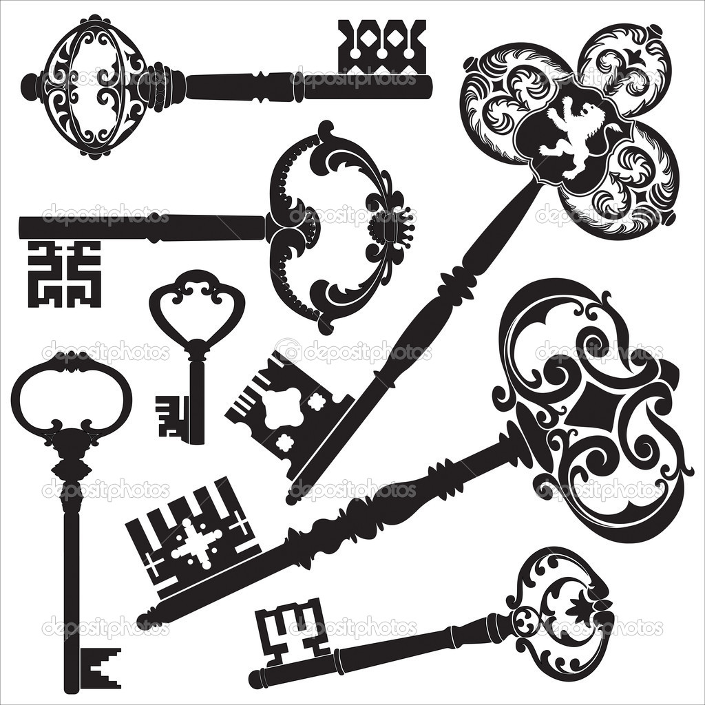 Several kinds of old antique keys. — Stock Vector #5876990