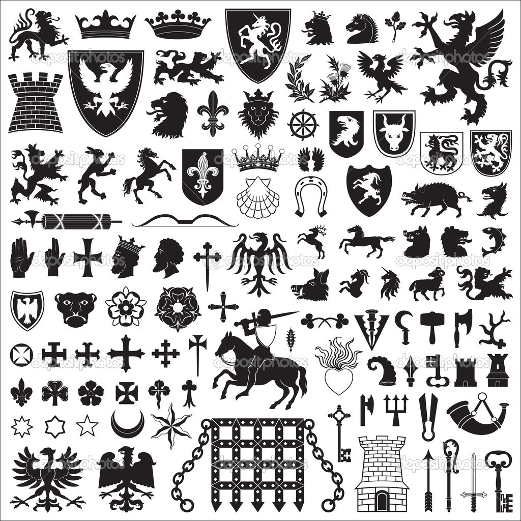 Collection of old coats of arms, heraldic symbols and elements.  Stock Vector #5877612