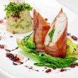 Pike perch at bacon — Stock Photo