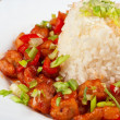 Pork meat and japanese rice — Stock Photo