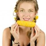 Woman eating corn-cob — Stock Photo #5976277