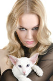 Woman with oriental shorthair cat — Stock Photo