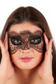 Girl at mask — Stock Photo