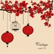 Vector de stock : Floral background with chinese lanterns and birdcage