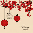 Floral background with chinese lanterns and birdcage — Imagen vectorial