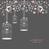 Vintage bird cages design with flowers — Stock Vector