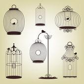 Set di gabbie di uccelli d'epoca — Vettoriale Stock