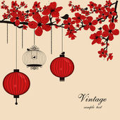 Floral background with chinese lanterns and birdcage — Stok Vektör