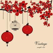 Fond floral avec des lanternes chinoises et cage à oiseaux — Vecteur