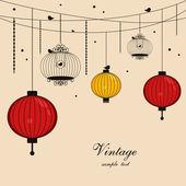 Lanternes suspendues et cages à oiseaux avec espace pour texte — Vecteur