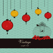 Japanese background with lanterns and birdcage — Stok Vektör