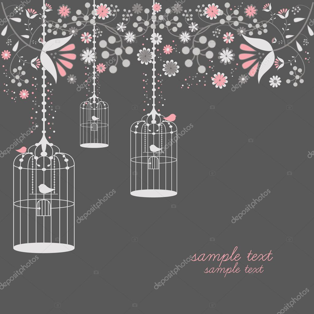 Vector illustration of vintage bird cages design with flowers  — Stock Vector #6351130