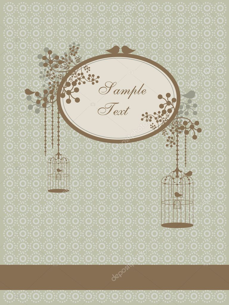 Vector illustration of autumn vintage design with birds and cages and place for text — Imagens vectoriais em stock #6351136