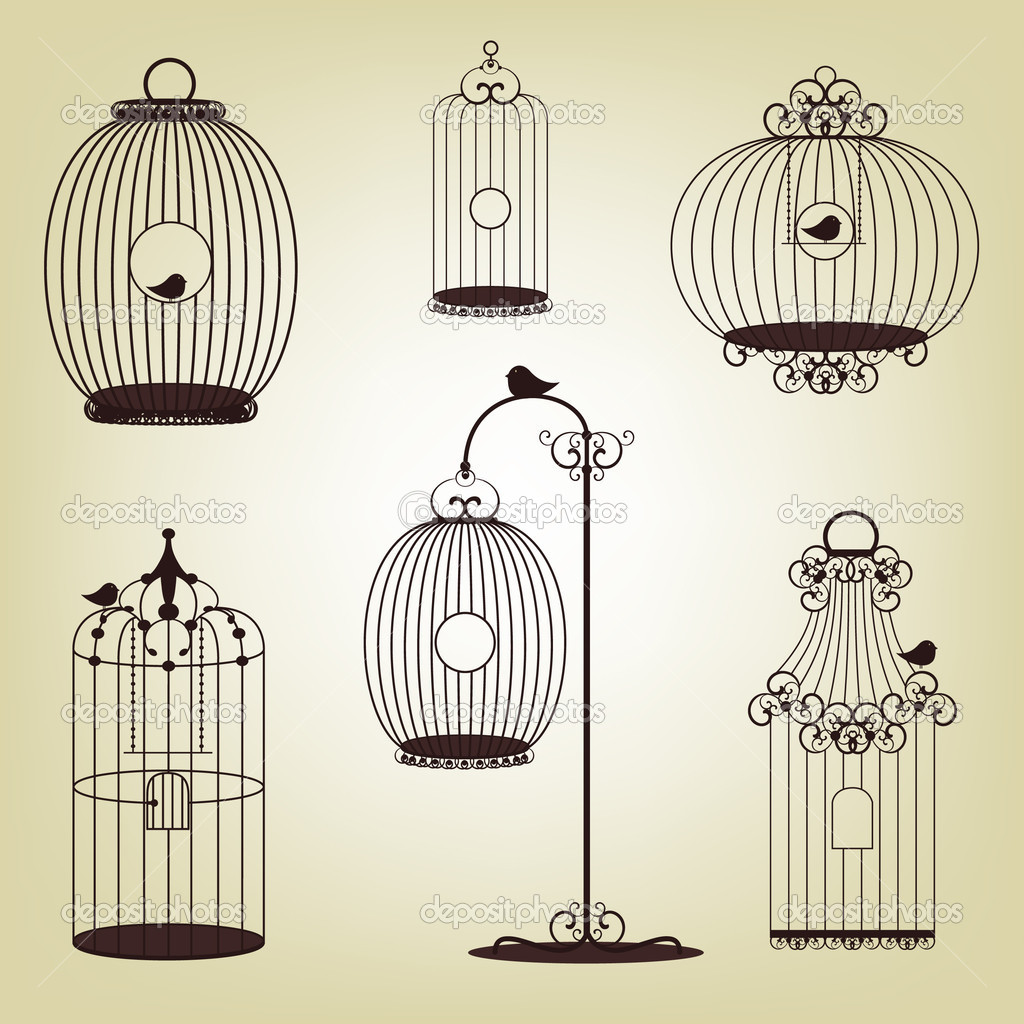 Vector illustration of  vintage bird cages - set  Imagen vectorial #6351142