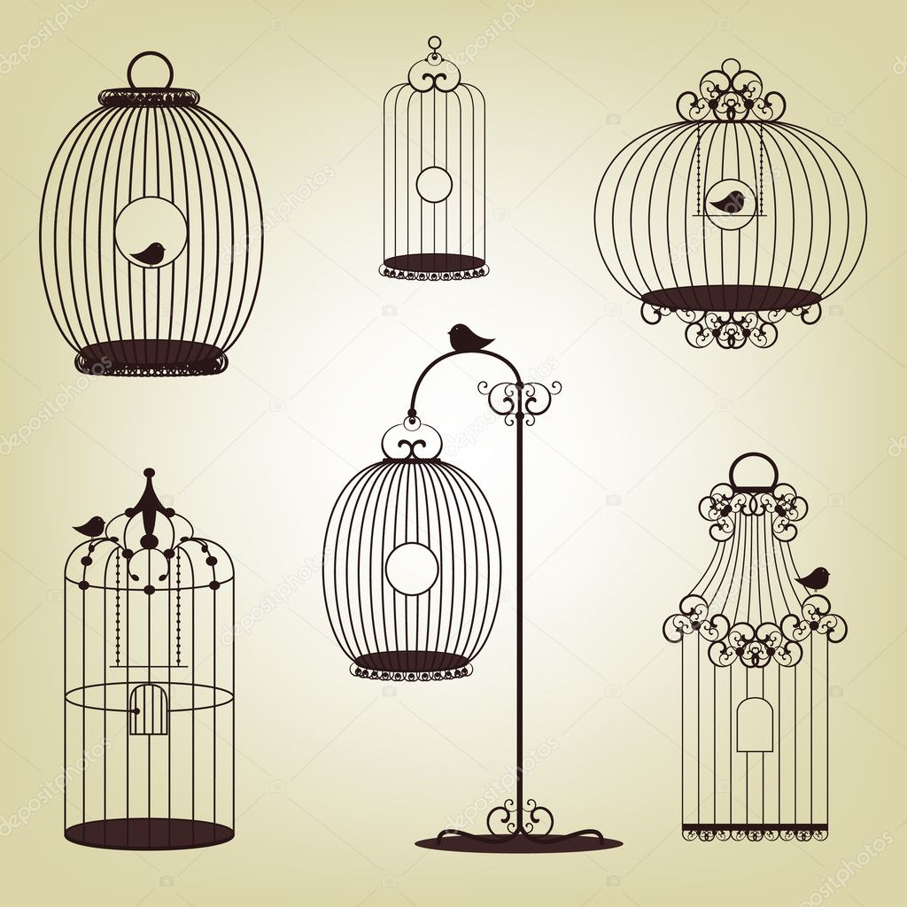 Vector illustration of  vintage bird cages - set — Image vectorielle #6351142