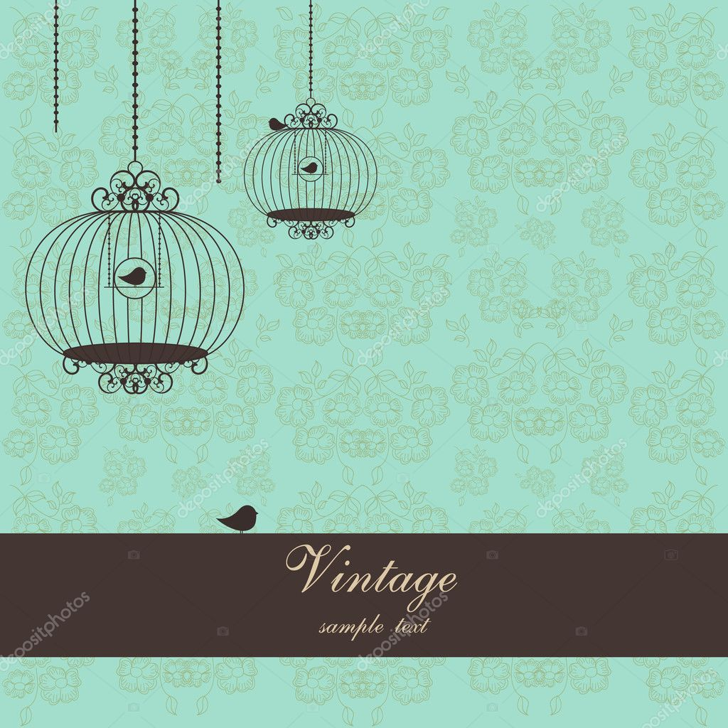 Vector illustration of vintage design with birdcages  and place for text  Stock Vector #6351168