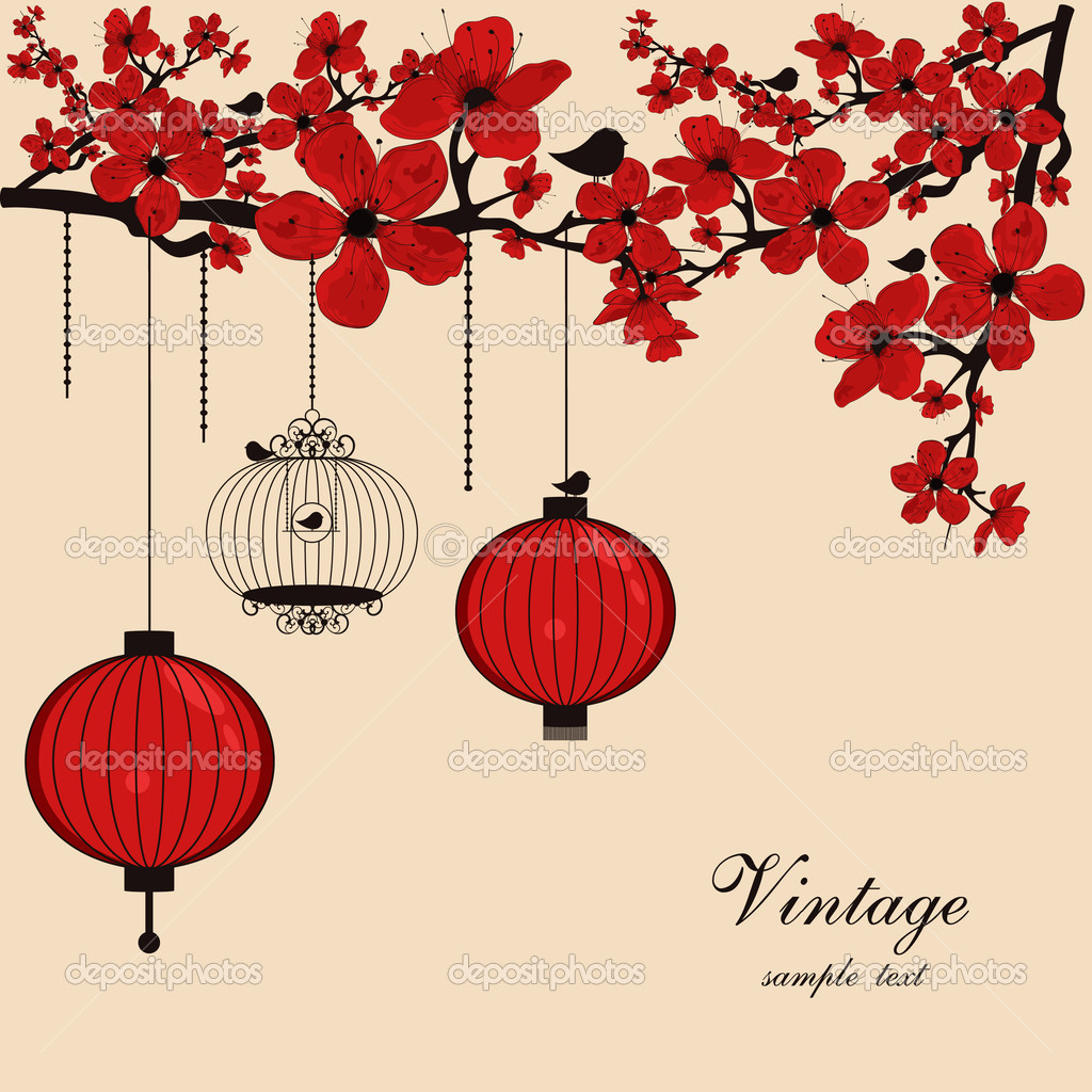 Floral background with chinese lanterns and birdcage ...