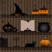 Shelf with halloween collection — Stock Vector