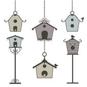 Ensemble de cabanes à oiseaux vintage — Vecteur
