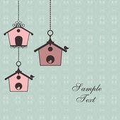 Design vintage con birdhouses — Vettoriale Stock