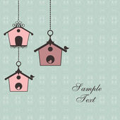 Vintage design with birdhouses — Cтоковый вектор