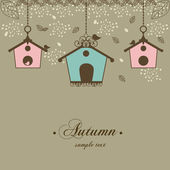 Autumn vintage design with birdhouses and leaf — Vettoriale Stock