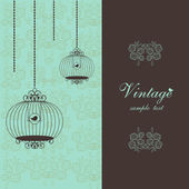 Elegant vintage design with birdcages — Stok Vektör