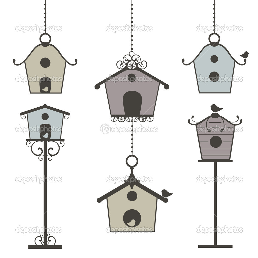 Vector illustration of  vintage birdhouses - set — Stock Vector #6504245