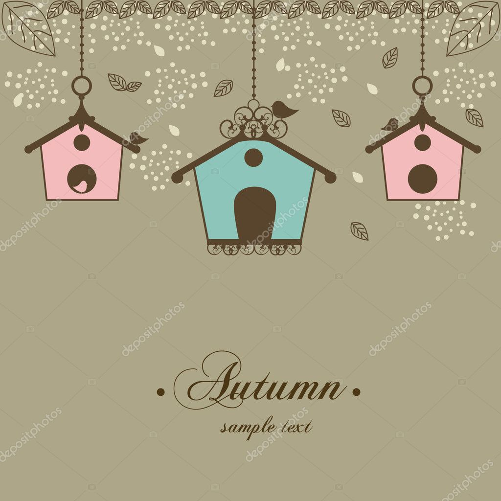 Vector illustration of autumn vintage design with birdhouses and leaf  — Stock Vector #6504269