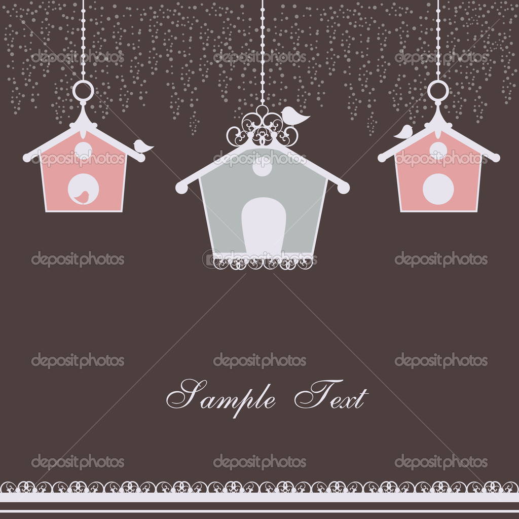 Vector illustration of vintage design with birdhouses — Stock Vector #6504277