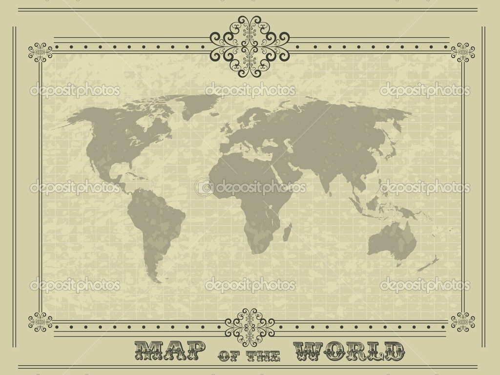 carte du monde avec cadre vintage image vectorielle hollymolly 6607635. Black Bedroom Furniture Sets. Home Design Ideas
