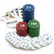 Big win - poker chips and royal flush — Stock Photo