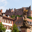 Statue and the castle in Heidelberg — Stock Photo