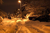 Winter street at night on long exposure — Stock Photo