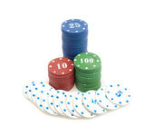 Big win - stack of poker chips — Stock Photo