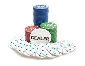 Dealer's turn - stack of poker chips — Stock Photo