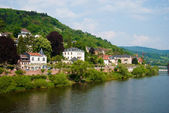 Neckar river and Heidelberg coastline — Stock Photo