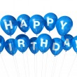 Blue Happy Birthday balloons — Stock Photo