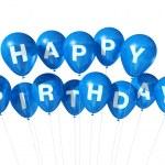 Blue Happy Birthday balloons — Stock Photo