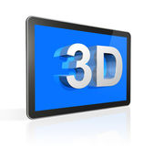 3D television screen with 3D text — Stock Photo