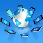 3D mobile phones around a world globe — Stock Photo