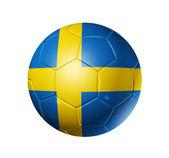 Balón de fútbol con la bandera de suecia — Foto de Stock