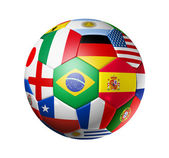 Football soccer ball with world teams flags — Zdjęcie stockowe
